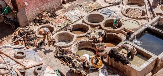 Как делают натуральную кожу в Марокко