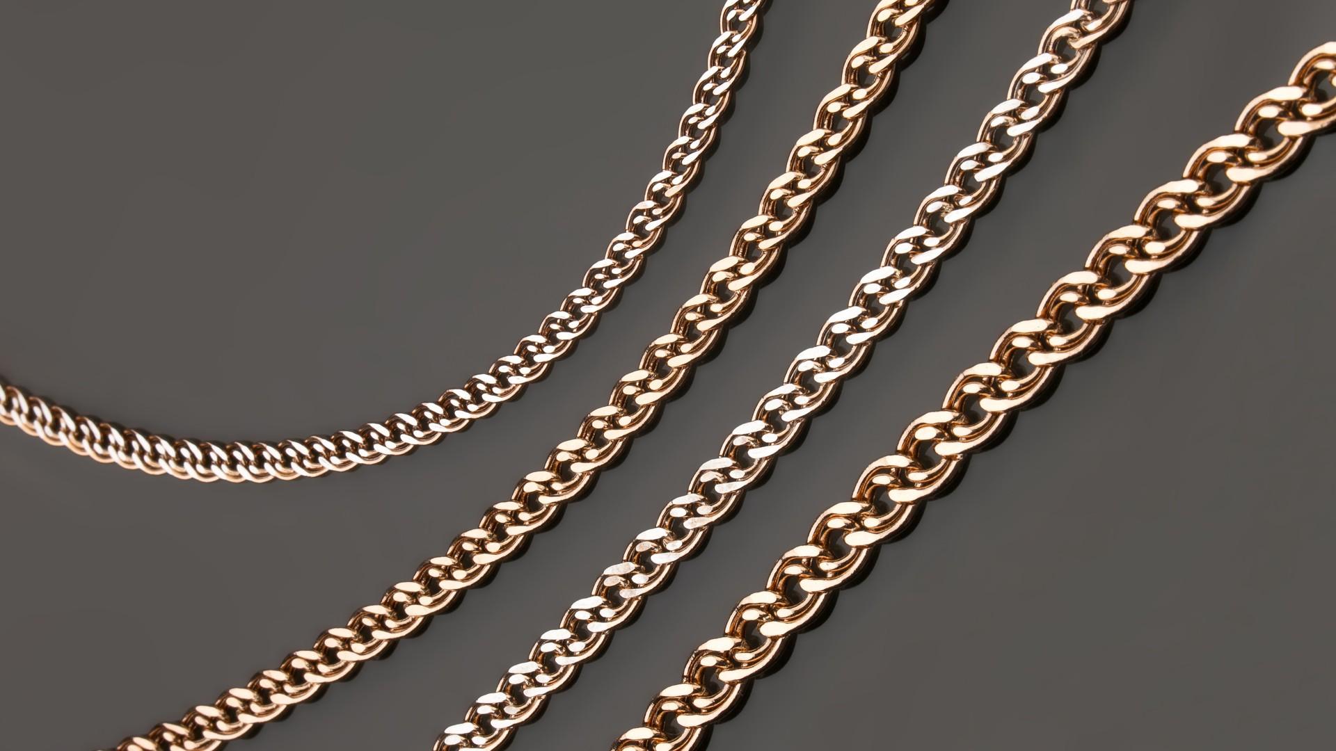 Плетение нона золотой цепочки